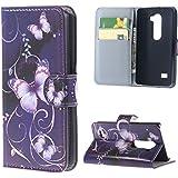 LG Leon H340N Custodia,PU Cuoio Portafoglio Guscio Flip Case Cover per LG Leon 4G LTE H340N C40 C50 Protettiva in Pelle Casi Custodia Caso con carte di credito slot,Farfalla 03