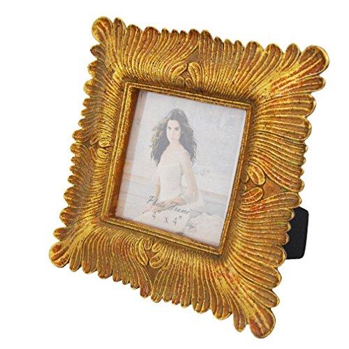 Giftgarden Marcos Cuadrado Clásico de Estilo Envejecido,Color Oro, 10x10cm.