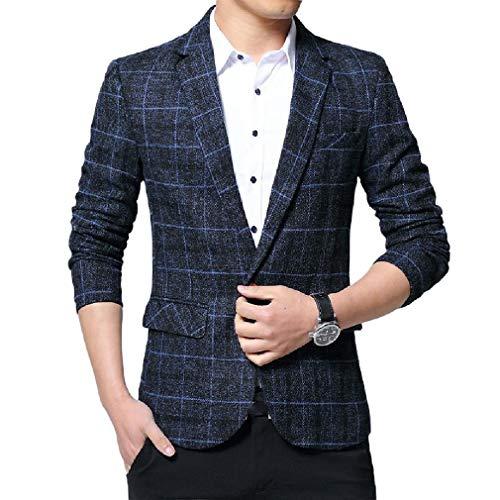 CuteRose Mens Casual Loose Fit Dress Business Big & Tall Plaid Coat Jacket Blue S - Big Mens Down Vest