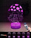 Lampada Casa Funghi 3D con Controllo Remoto, QiLiTd Lampade Notturna LED 5 Luminosità + Muliticolore Regolabile RGB Luce Notturna da Comodino con Controllo Tattile per Regalo di Compleanno e Natale