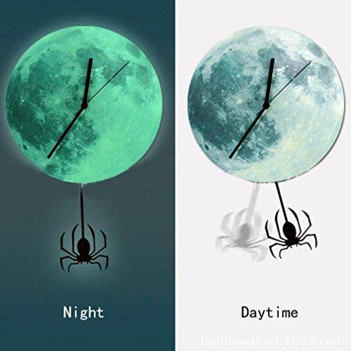acht Mond Uhr Karikatur leuchtende Mond Wand Taktgeber Ausgangsdekoration (E) (John Carpenters Halloween-maske)