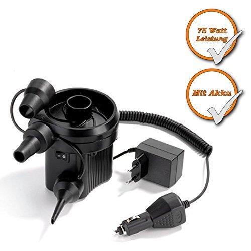 Elektro Kompressorpumpe mit Akku, auch über Zigarettenanzünder nutzbar, 230Volt+12Volt nutzbar