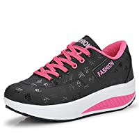 Gaatpot Ladies Wedge Platform Trainers Lightweight Shape Up Walking Shoes Girls Breathable PU Leather Fitness Shoes , Black, 6.5 UK