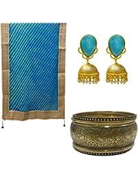 Ratnatraya Combo Of Cotton Silk Leheriya Blue Gota Patti Lace Muloticocolor Dupatta With Earrings And Bangles