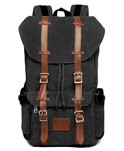 Fresion Canvas Rucksack mit 2 Seitentaschen Laptop Tasche Reise Rucksack Schultasche Trekkingrucksäcke für Wandern Camping (Canvas Schwarz) (Laptop-tasche Tasche 2)