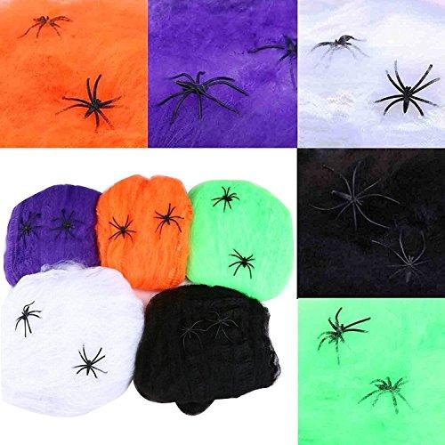 Ailiebhaus 5 Set Halloween Spinnweben Dekoration Spinnennetz mit 2 Spinnen (Für Halloween Spinnweben)