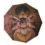 BALEH - Ombrello tascabile con motivo architettonico persico, piccolo, leggero, antivento, rivestimento in teflon, apertura automatica su 9 nastri