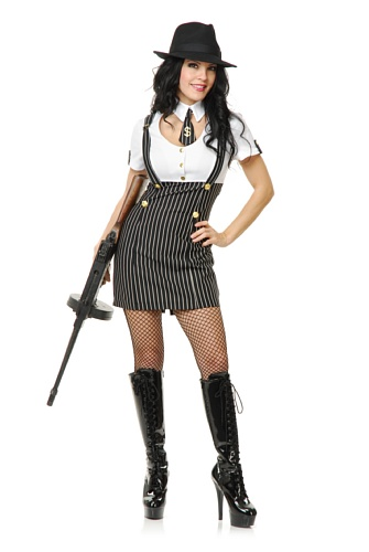dress costume X-Large (Women's Black Gangster Kostüme)