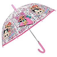 LOL Surprise Transparent Umbrella Little Girls with MC Swag VRQT 80s BB - Kids Clear Dome Brolly Automatic Windproof Strong with Pink Details - Children 5/7 Years Old - Diameter 74 cm - Perletti