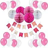 Eburtstag Dekoration, Recosis Happy Birthday Girlande mit Luftballons Latexballons und Wabenbälle Papier für Geburtstag Dekoration - Rosa
