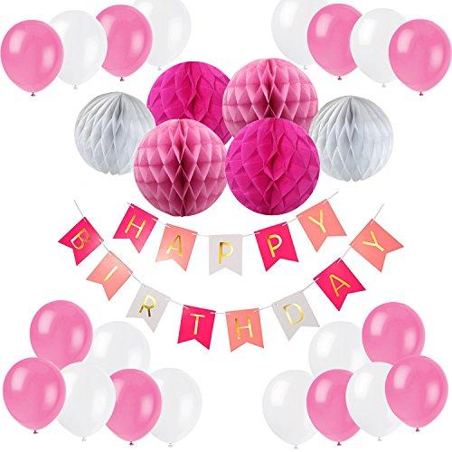 Eburtstag Dekoration, Recosis Happy Birthday Girlande mit Luftballons Latexballons und Wabenbälle Papier für Geburtstag Dekoration – Rosa