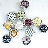 12 mini magnets époxy - Ø12mm - Noir et motifs - Graines créatives