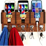 US DZIRE™ 808 Wooden Multi-Functional Clothes & Key Hanger, Mobile Charging Wall Stand Suitable Living Room, Bedroom, Kitchen, Bedside nightstand, Home & Office