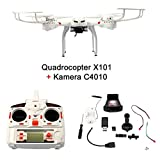 FunTomia Quadrocopter RC Drohne MJX X101 Wifi 6-Axis Gyro Quad-copter Real Time 2.4 GHz mit einer FPV Kamera C4010 4GB Memory-Card USB Stick und 4,7V 1200mAh Lithium Akku