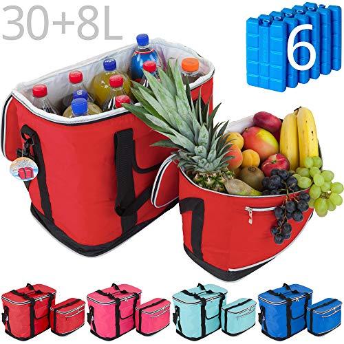 MABAMAHO Kühltaschen-Set Ibiza 30+8 Liter mit optional 6 Kühlakkus für Picknick, Grillen, Wandern (Mit 6 Kühlakkus, Rot)