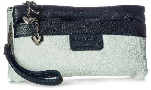 Big Handbag Shop, Poschette giorno donna Bianco (weiß blau Trim)