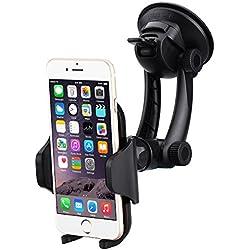 Mpow MCM12-ES-V - Soporte movíl universal con entosa de gel y brazo ajustable para parabrisas y salpicadero compatible con iPhone 7/7Plus/6/6s/6 Plus, Huawei, Google Nexus 4.5, Nokia y movíles inteligentes de 4.5 cm-10.8 cm