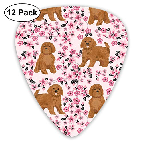 Ruby Cavoodle Cavapoo Dog Breed Cherry Blossom Classic Celluloid Picks, 12-Pack, For Electric Guitar, Acoustic Guitar, Mandolin, And Bass