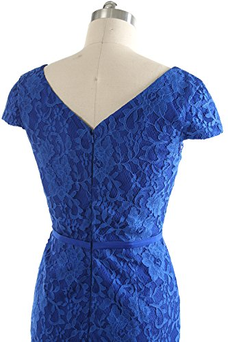 MACloth Women Vintage Short Lace Cap Sleeve Mother of Bride Dress Wedding Party Sky Blue
