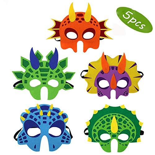 Lomire Masken für Dinosaurierpartys, 5er Pack Masken Schaum für Dinosaurierkostüme Zubehör für Geburtstagsfeiern Maskerade für Kinder Themenpartys Dekorationen