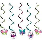 5-teiliges Decken-Deko Set * TRENDY EULEN * für Kindergeburtstag und Motto-Party // Kinder Geburtstag Owl Eule Motto Party Decken Deko Dizzy Danglers Spiralen