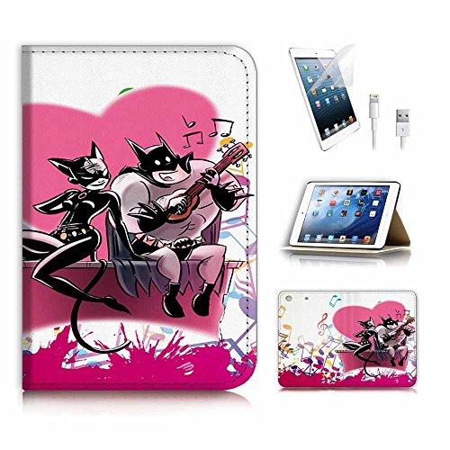 (für iPad Mini 123, Generation 1/2/3) Flip Wallet Schutzhülle & Displayschutzfolie & Ladekabel Bundle. A4074Batman Catwoman