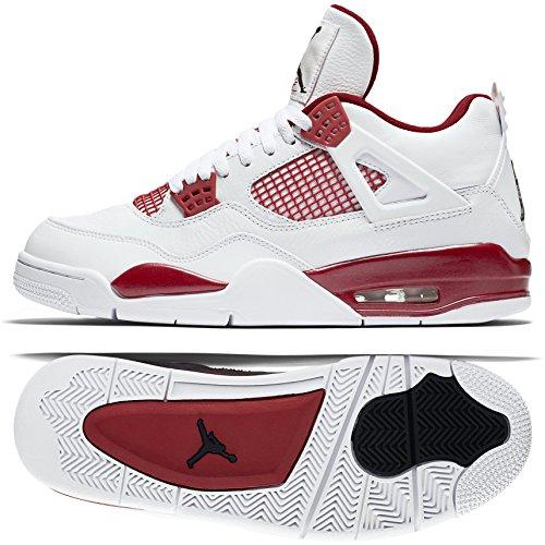 Nike Herren Air Jordan 4 Retro Turnschuhe, Weiß/Schwarz/Rot (Weiß/Schwarz-Gym Red), 41 EU (Jordan Retro 4 Schwarz Und Weiß)