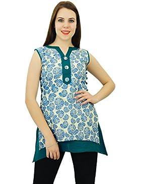 Phagun Diseñador floral algodón Anarkali Kurti de mujeres de origen Kurta vestido ocasional