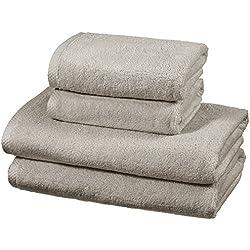 AmazonBasics - Juego de 4 toallas de secado rápido, 2 toallas de baño y 2 toallas de mano - Gris