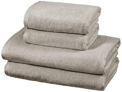 AmazonBasics - Handtuch-Set, Schnelltrocknend, 2 Badetücher und 2 Handtücher - Platingrau, 100% Baumwolle (Handtücher)