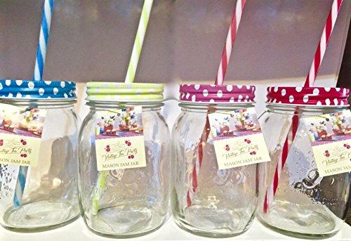 Lot de 4 bocaux à confiture Couleurs assorties verre 430 ml-Mason jar Lunettes Tennessee Pot en verre en forme de bocal à confiture avec poignée et Paille cocktails