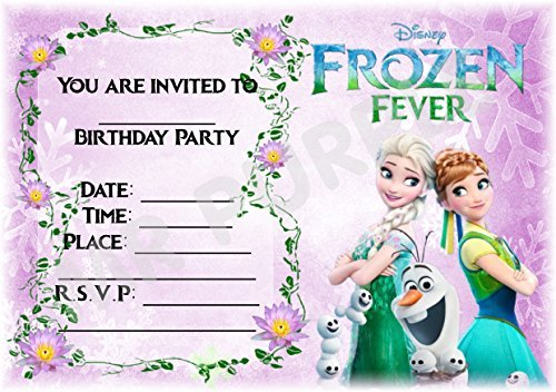 Disney Frozen Geburtstag Party lädt - Frozen Fieber lila Design - Party Supplies/Zubehör (12 Stück A5 Einladungen) WITH Envelopes