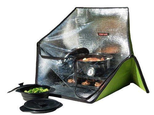 Sunflair Tragbarer Solarofen Deluxe mit komplettem Kochgeschirr, Trockengestell und Thermometer
