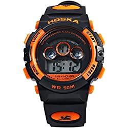 Leopard Shop HOSKA H001S Children Sports Wristwatch LED Digital Watch Day Chronograph LED Water Resistance Black Orange