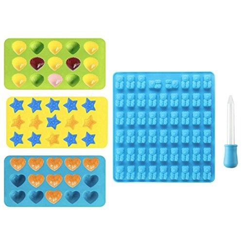 GuDoQi Silikon Süßigkeiten Schimmel Bär Herz Stern Shell Schokoladenform Eiswürfelschale 4-Pack