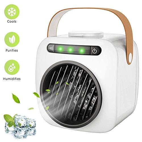LMDC Mini tragbarer persönlicher Luftkühler, Luftbefeuchter, kleine bewegliche Klimaanlage for Haus, Schlafzimmer, Innen, Außen, Büro