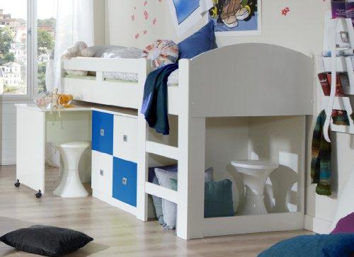 Wimex Hochbett Sunny, Liegefläche 90 x 200 cm, Weiß/ Absetzung Marineblau