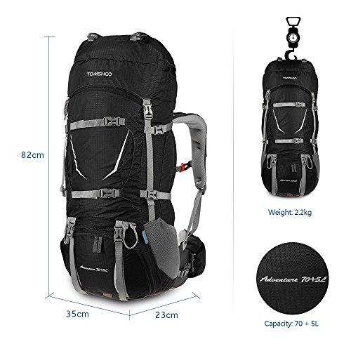 Imagen de tomshoo 70+5l  senderismo con cubierta de lluvia impermeable bolsa de trekking para escalada camping viajes montañismo alternativa