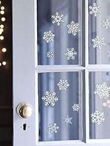 Gifts 4 All Occasions Limited SHATCHI-727 80 - Pegatinas decorativas para ventana (80 unidades), diseño de copos de nieve, color blanco y azul