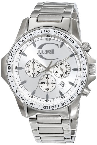 Just Cavalli Unisex Watch R7273693015 In Collection Actually with Chronograph, Silver Dial and Stainless Steel Bracelet
