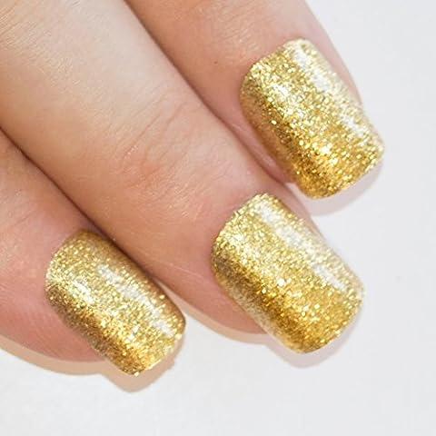 Bling Art Gel False Nails French Manicure Gold Glitter Medium 24 Tips UK