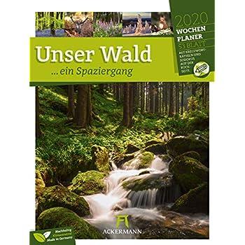 Unser Wald, ein Spaziergang - Wochenplaner 2020, Wandkalender im Hochformat (25x33 cm) - Wochenkalender mit Rätseln und Sudoku auf der Rückseite