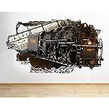 H092tren Cool Living rompió los niños para pared Póster 3d arte pegatinas vinilo habitación (grande (90x 52cm))