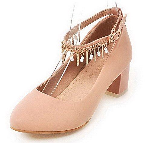 VogueZone009 Damen Mittler Absatz Rein Schnalle Blend-Materialien Rund Zehe Pumps Schuhe Pink