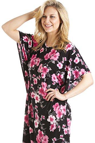 Camille - Damen Kaftan lang - Blumendruck - Größen S-XL Pink