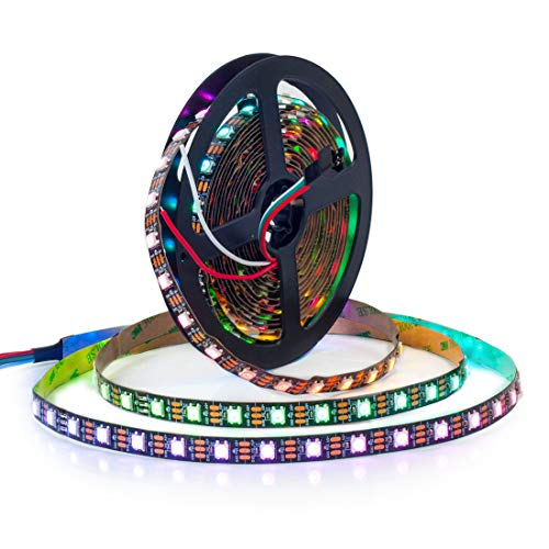 BTF-LIGHTING 16.4ft 5m WS2812b 60leds/pixels/m Flexible Negro PCB individualmente direccionable Led tira Sue?o en color no impermeable DC5V