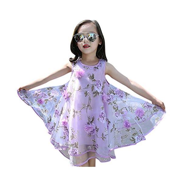 YWLINK Vestido NiñA,Verano Sin Mangas Vestido De La Flor del Chaleco del Fleco del Organza De Las Flores 3D,Vestido De… 2