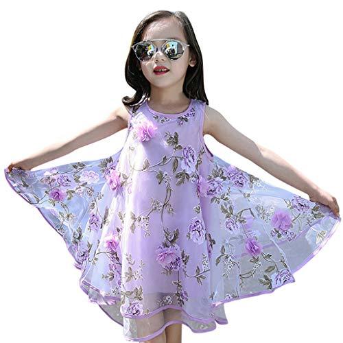 Alwayswin Sommer Baby Mädchen Blume Prinzessin Kleid Festzug Hochzeit Abendkleid Kinder Süß Mode 3D Blume Organza Weste Flauschiges Kleid Festival Ärmellos A-Linien Kleid