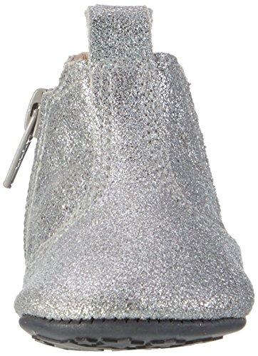 EnFant bébé mixte, chaussons boots zippés, cuir souple 01 Silver