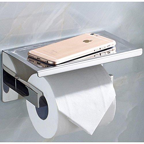 Chrom Wc Papier Halter (ECENCE Toilettenpapierhalter eckig Edelstahl SUS-304 poliert glänzend verchromt rostfrei Design Halter WC-Rollenhalter mit Ablage für Tücher oder Handy z.B. iPhone + Montagematerial 11010209)